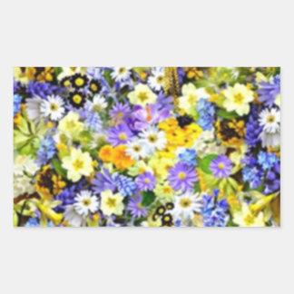 Spring Floral Color Burst Collage Rectangular Sticker