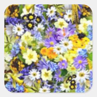 Spring Floral Color Burst Collage Square Sticker