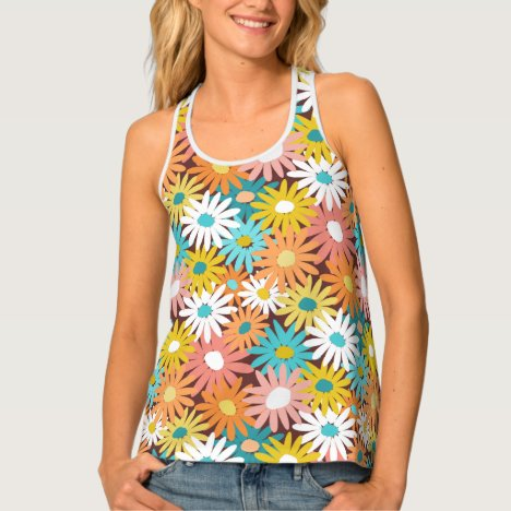 Spring floral daisies 70s inspired tank top