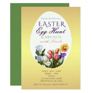 Spring Floral Easter Egg Hunt Elegant Invitations