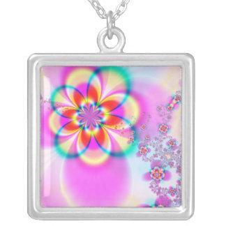Spring Floral Fractal Silver Plated Necklace