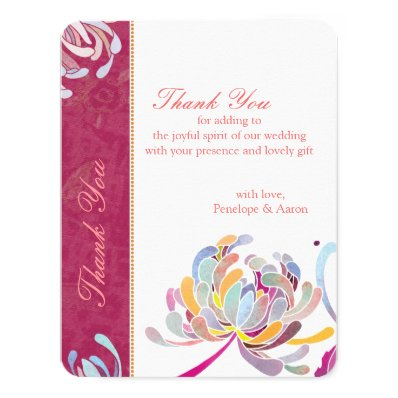 Spring Floral Fuchsia Wedding Thank You Cards