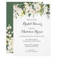 Spring Floral Greenery Bridal Shower Brunch Invitation