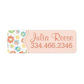 Spring Floral & Leaves Digital Watercolor Pattern Custom Return Address Labels