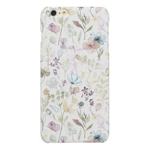 Spring Floral meadow watercolor floral Glossy iPhone 6 Plus Case