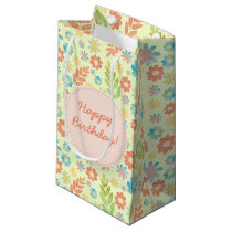 Spring Floral Pattern Happy Birthday Small Gift Bag