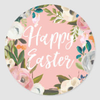 Spring Floral Pink Happy Easter Classic Round Sticker