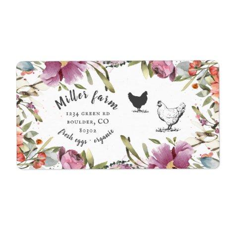 spring floral rustic script Egg Carton Label