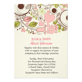 Spring Floral Swirls Wedding Invite
