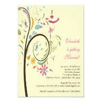 "Spring Floral Tree Bridal Shower Invitation 5.25"" Square Invitation Card"