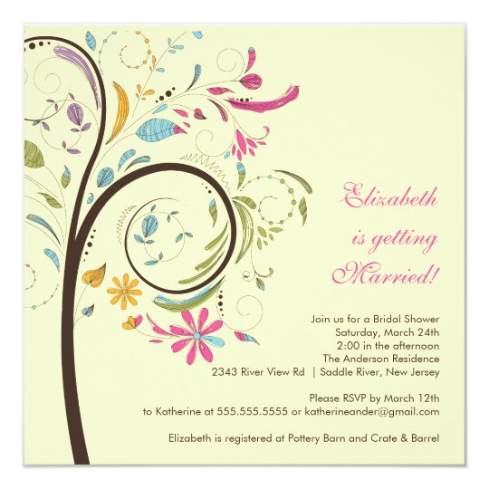 Spring Floral Tree Bridal Shower Invitation