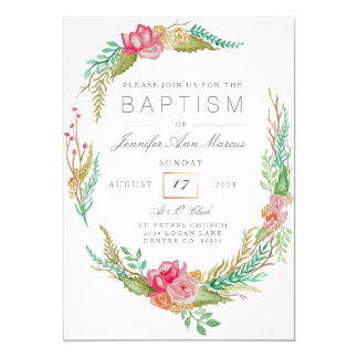Spring Floral Watercolor | Baptism Card