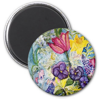 Spring Floral Watercolor 2 Inch Round Magnet