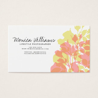 Spring Floral Watercolor Pink Yellow Business Card