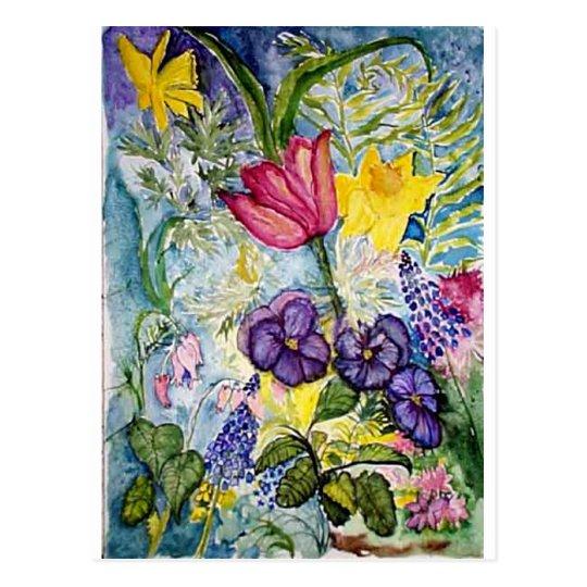 Spring Floral Watercolor Postcard
