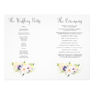 Spring Floral Watercolor Wedding Program Booklet