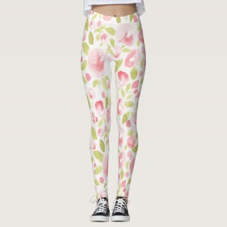Spring Floral Watercolors: Peonies Popping Leggings