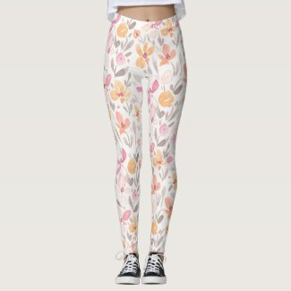 Spring Floral Watercolours: Dreamsicle Susans Leggings