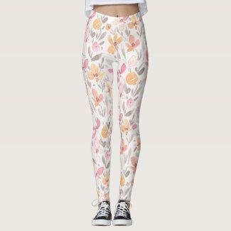 Spring Floral Watercolours: Dreamsicle Susans Leggings