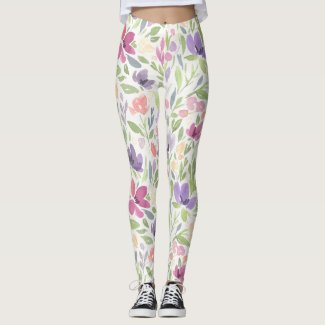 Spring Floral Watercolours: Fuschia & Royale Mums Leggings