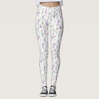 Spring Floral Watercolours: Iris Budding Leggings