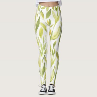 Spring Floral Watercolours: Leaves A Budding Leggings