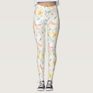 Spring Floral Watercolours: Ochre One Eyed Susans Leggings