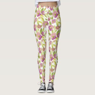 Spring Floral Watercolours: Purkle Poppies Leggings