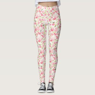 Spring Floral Watercolours: Rushing Cherry Tulips Leggings
