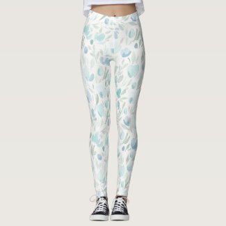 Spring Floral Watercolours: Skye Bluebell Leggings