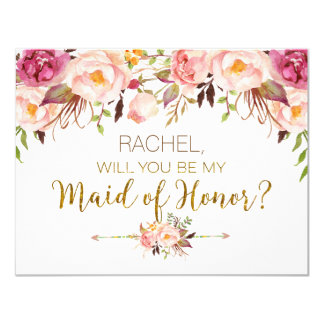 Spring Floral Will You Be Maid of Honor Card