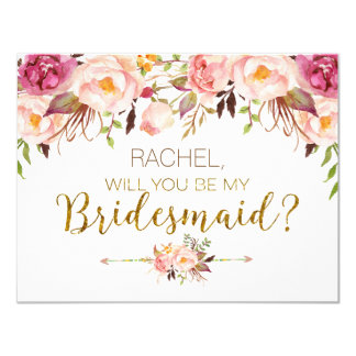 Spring Floral Will You Be My Bridesmaid Card