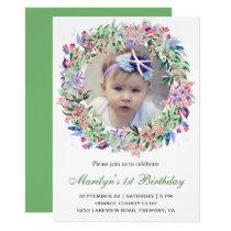 Spring Floral Wreath First Birthday Invitation