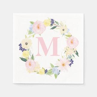 Spring Floral Wreath Monogram Wedding Napkins Standard Cocktail Napkin