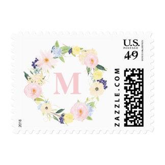 Spring Floral Wreath Monogram Wedding Stamp