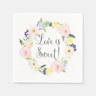 Spring Floral Wreath Wedding Suite Napkins