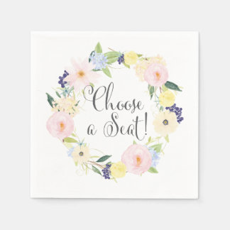 Spring Floral Wreath Wedding Suite Napkins Disposable Napkin