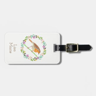 Spring florals and robin bird bag tag