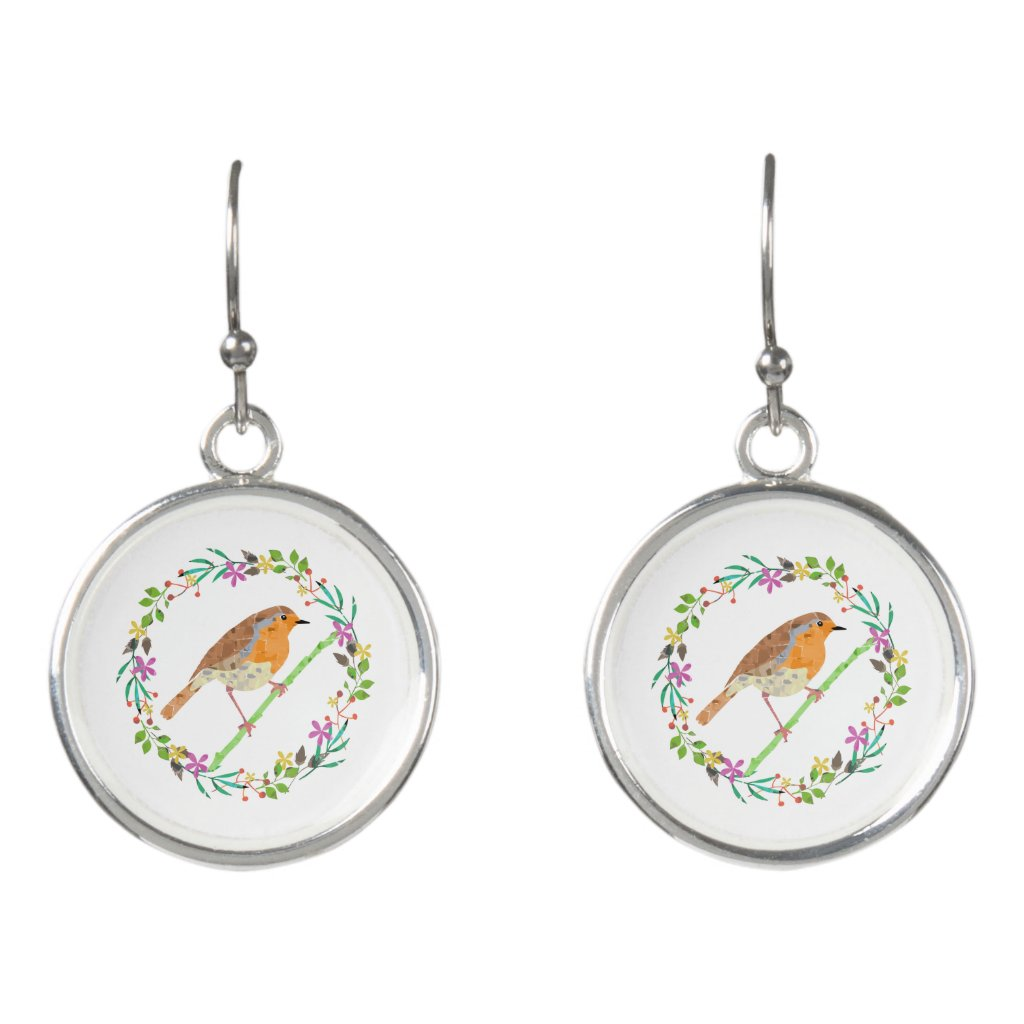 Spring florals and robin bird earrings