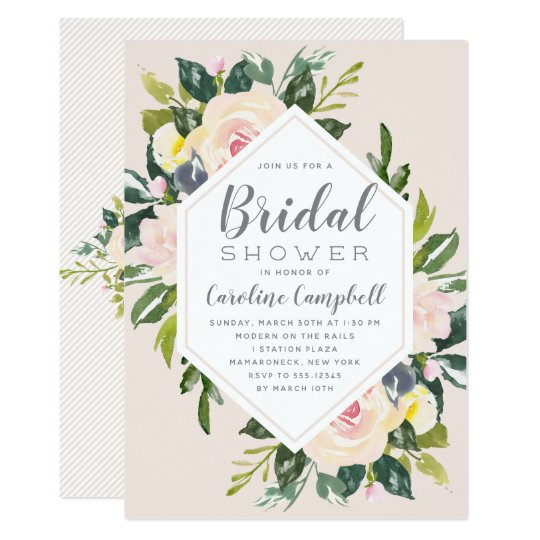 spring florals blush bridal shower invitation