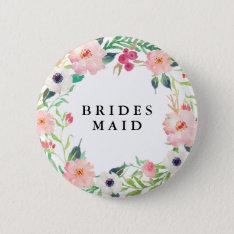 Spring Florals Bridesmaid Wedding Pinback Button at Zazzle
