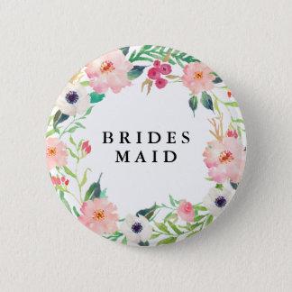 Spring Florals Bridesmaid Wedding Pinback Button