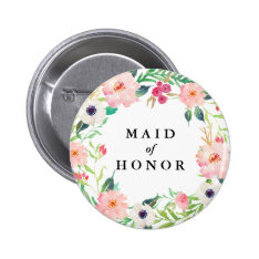Spring Florals Maid Of Honor Wedding Pinback Button at Zazzle