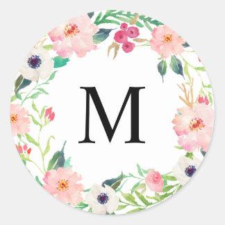 Spring Florals Monogram Classic Round Sticker