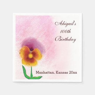 Spring flower 100th Birthday Paper Napkins