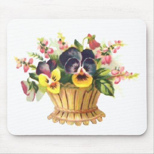 Spring Flower Basket Mouse Pad