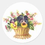 Spring Flower Basket Round Stickers