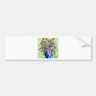 Spring flower bouquet, lilies, roses, peonies bumper sticker