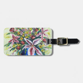 Spring flower bouquet, lilies, roses, peonies luggage tag