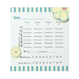Spring Flower Bunco Score Sheet Pad
